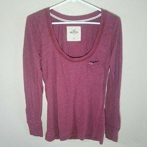 Hollister T Shirt M L/S Trim Scoop Neck Burgundy